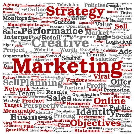 Concept or conceptual business marketing target word cloud isolated on background Stock Photo
