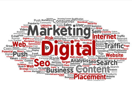 marketing online: Concept or conceptual digital marketing seo or traffic abstract word cloud isolated on background