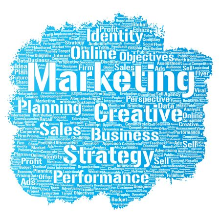 marketing online: Conceptual development business marketing target paint brush word cloud isolated background. Collage advertising, strategy, promotion branding, value, performance planning or challenge Stock Photo