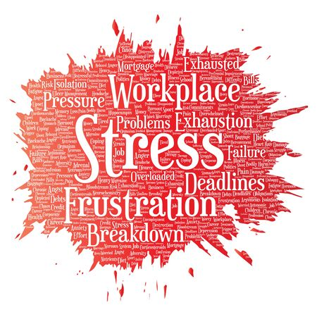 Conceptual mental stress at workplace or job pressure paint brush word cloud isolated background. Collage of health, work, depression problem, exhaustion, breakdown, deadlines risk Stock Photo