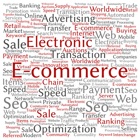 electronic background: Vector concept or conceptual E-commerce electronic sales word cloud isolated on background