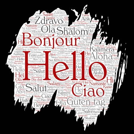multilingual: Vector concept or conceptual brush or paper hello or greeting international tourism word cloud in different languages or multilingual. Collage of world, foreign, worldwide travel, translate, vacation