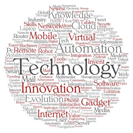 mobile communication: Vector concept or conceptual digital smart technology, media word cloud isolated on background