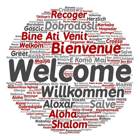 Vector concept or conceptual welcome or greeting international word cloud in different languages or isolated Vetores