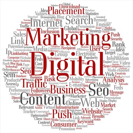 marketing online: Vector concept or conceptual digital marketing seo or traffic abstract word cloud isolated on background Illustration