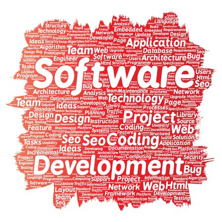 html: Conceptual software development project coding technology paint brush word cloud isolated background. Collage of application web design, seo ideas, implementation, testing upgrade concept