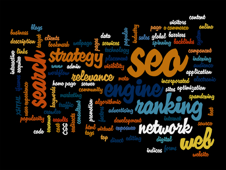 marketing online: Vector concept or conceptual search engine optimization, seo abstract word cloud isolated