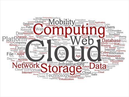 mobile device: Vector concept conceptual web cloud computing technology wordcloud isolated Illustration