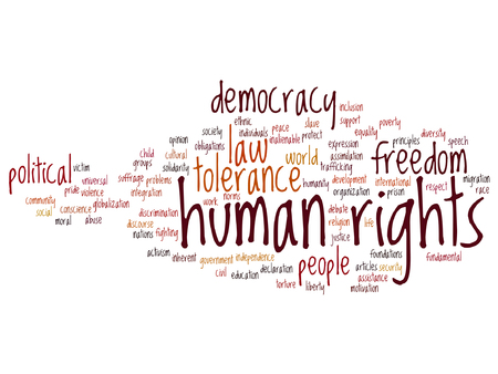 Vector concept or conceptual human rights political freedom or democracy word cloud isolated on background