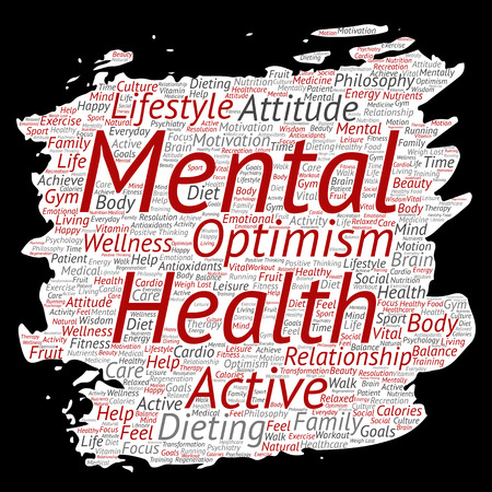 A Vector conceptual mental health or positive thinking paint brush paper word cloud isolated background. Collage of optimism, psychology, mind healthcare, thinking, attitude balance or motivation text