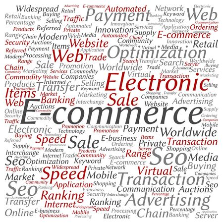 marketing online: Vector concept or conceptual E-commerce electronic sales word cloud isolated on background