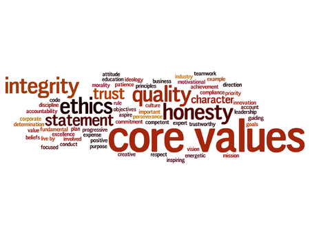 A Vector conceptual core values integrity ethics concept word cloud isolated on background Illustration