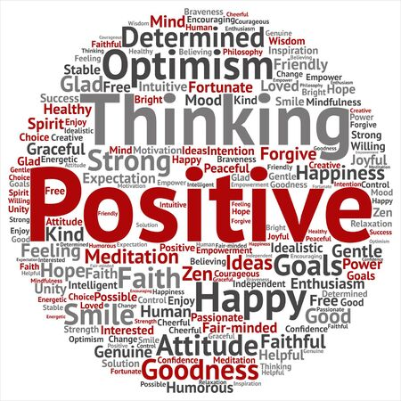 Vector concept or conceptual positive thinking, happy strong attitude word cloud isolated on background
