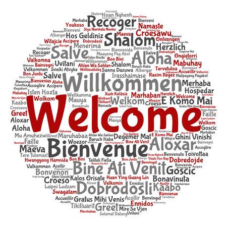 Notion de vecteur abstrait rond accueillir ou saluer le mot international nuage dans différentes langues ou métaphore multilingue isolé au monde, étranger, dans le monde entier, voyager, traduire, vacances ou tourisme
