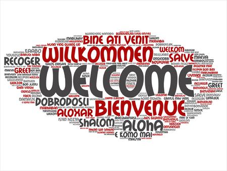Vektor-Konzept oder konzeptionelle Begrüßung oder Begrüßung internationaler Wortwolke in verschiedenen Sprachen oder isoliert Standard-Bild - 86214381