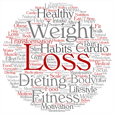 Concept or conceptual weight loss healthy dieting transformation round word cloud isolated on metaphor to fitness motivation, lifestyle, before and after workout slim body beauty Illustration