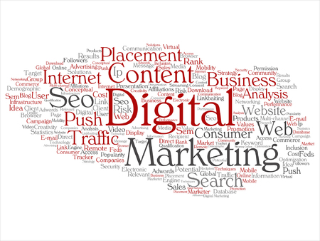 Concepto de vector o conceptual de marketing digital seo o tráfico nube de palabra abstracta aisladas en segundo plano Ilustración de vector