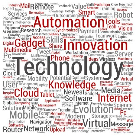 mobile communication: Concept or conceptual digital smart technology, media word cloud isolated on background