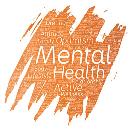 Conceptual mental health or positive thinking paint brush word cloud.
