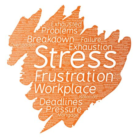Conceptual mental stress at workplace or job pressure paint brush word.