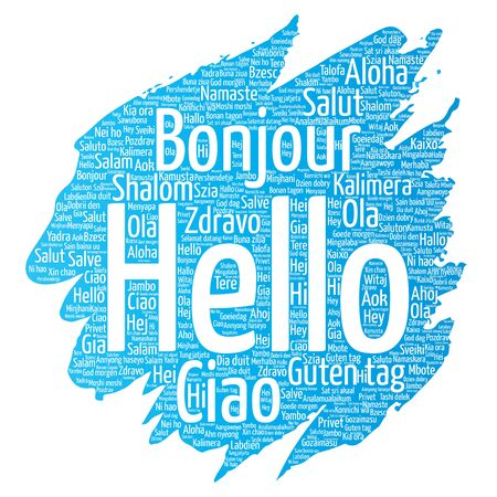 Conceptual brush or paint hello or greeting international word cloud in different languages or multilingual.