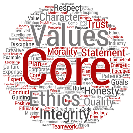 Vector conceptual core values integrity ethics round concept word cloud isolated on background metaphor to honesty, quality, trust, statement, character, important, perseverance, respect trustworthy