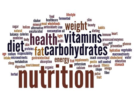 Vector concept or conceptual nutrition health or diet word cloud isolated on background