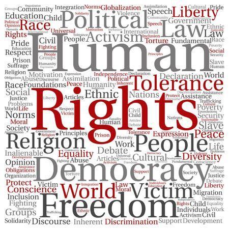 Vectorrechten van de mens politieke vrijheid of wolk van het democratie de vierkante die woord op achtergrond wordt geïsoleerd