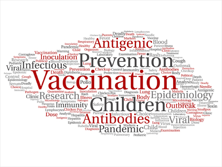 Concept or conceptual vaccination or viral prevention abstract word cloud isolated on backdrop.