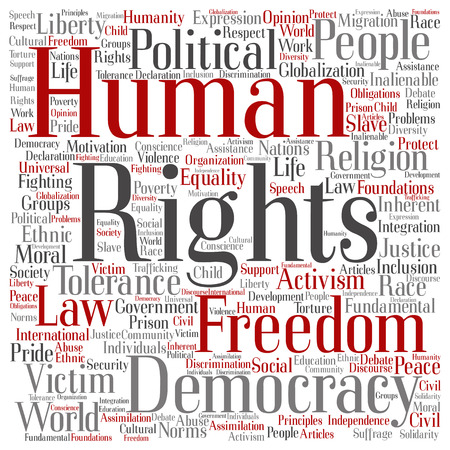 Human rights political freedom or democracy square word cloud isolated on background