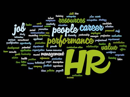 Concept conceptual hr or human resources word cloud isolated on background Stock Photo