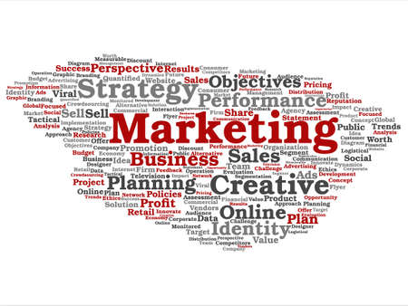 Vector concept or conceptual business marketing target word cloud isolated on background