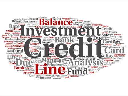 Vector concept or conceptual credit card line investment balance word cloud isolated on background