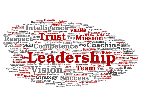 Vector concept or conceptual business leadership, management value word cloud isolated on background Illustration