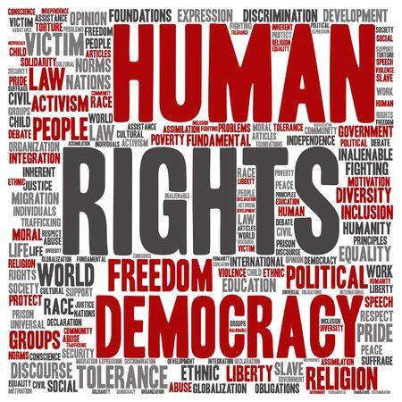 Vector human rights political freedom or democracy square word cloud isolated on background