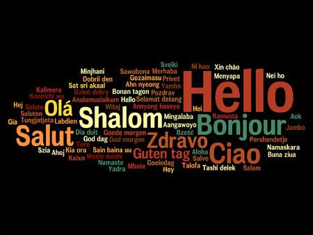 multilingual: International greetings word cloud.