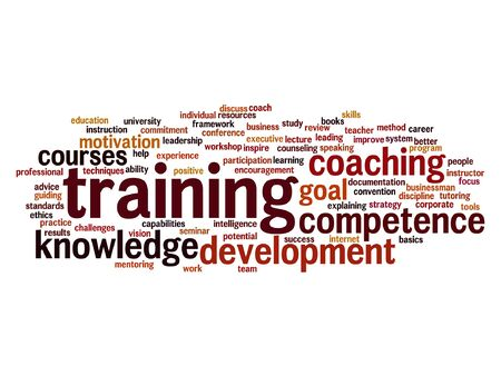 Vector concept or conceptual training, coaching or learning, study word cloud isolated on background Vectores