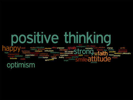 Positive thinking word cloud.