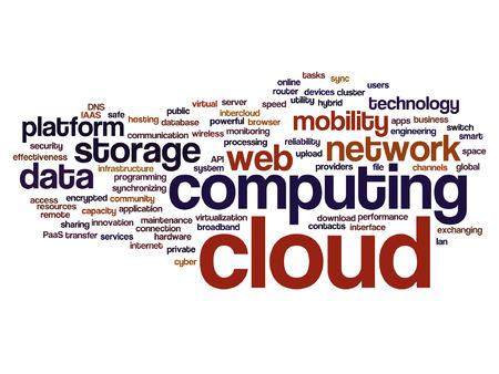 Vector concepto conceptual web cloud computing tecnología wordcloud aislado Foto de archivo - 86544118
