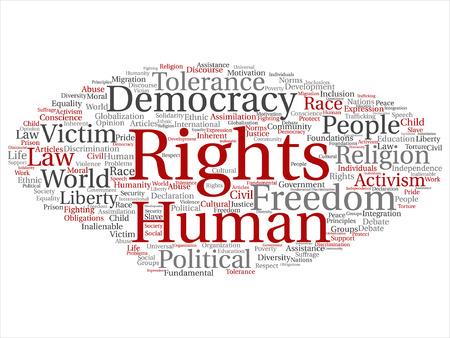 Le nuage de mots des droits de l'homme. Vecteurs