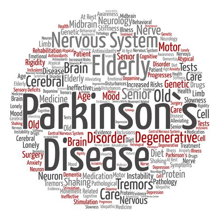 rigidity: Concept conceptual Parkinson`s disease healthcare or nervous system disorder abstract word cloud isolated on background metaphor to healthcare, illness, degenerative, genetic, symptom or brain