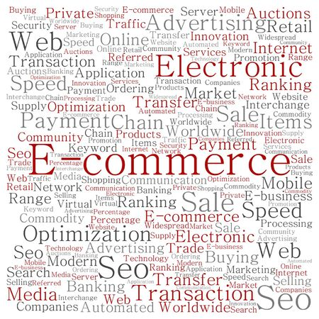 b2b: Vector concept or conceptual E-commerce electronic sales word cloud isolated on background
