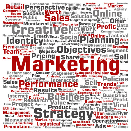 Concept or conceptual business marketing target word cloud isolated on background metaphor to advertising, strategy, promotion, branding, value, performance, planning, challenge or development Stock Photo