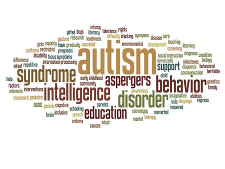 Conceptual childhood autism syndrome or disorder word cloud isolated