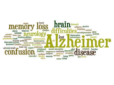 Conceptual Alzheimer`s disease symtoms word cloud.