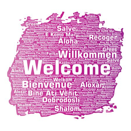 Greeting international brush or paint word cloud in different languages