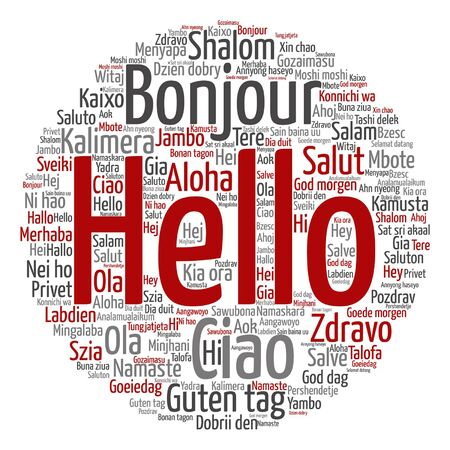 Conceptual abstract hello or greeting international word cloud Stok Fotoğraf - 86737008