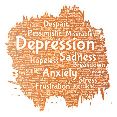 Conceptual depression word cloud Illustration
