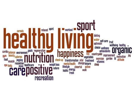 Concept or conceptual healthy living positive nutrition or sport word cloud isolated on background
