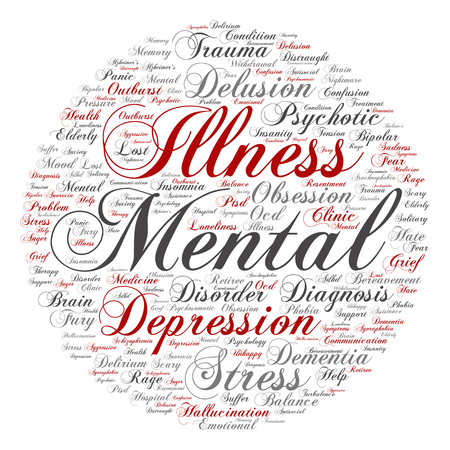 Conceptual mental illness disorder management or therapy abstract word cloud isolated Stock Photo
